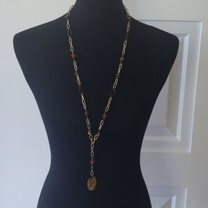 3/$40 NY Matte Gold and Amber Bead Necklace